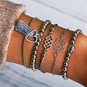 Women's Layered Bead Bracelet Loom Bracelet Bracelet Set Flower Tassel Casual / Sporty Ethnic Fashion Bracelet Jewelry Silver For Daily Street Going out