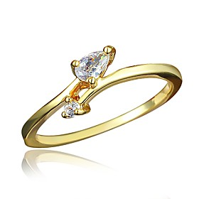 Women's Clear Cubic Zirconia Classic Ring 18K Gold Plated Imitation Diamond Stylish Luxury Romantic Fashion Elegant Ring Jewelry Gold For Party Engagement Gift