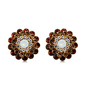 Women's Clear Brown Crystal Clip on Earring Gold Plated Imitation Diamond Earrings Stylish Trendy Cute Jewelry Brown For Daily Evening Party Formal 2pcs