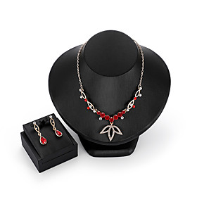 Women's Crystal Jewelry Set Leaf Trendy, Ethnic Include Drop Earrings Pendant Necklace Red For Party Ceremony Evening Party Festival