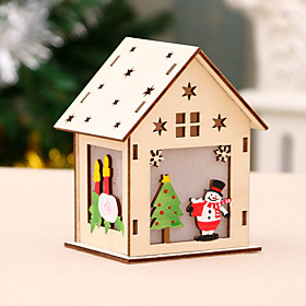 1PC LED Light Wood House Pendant Novelty DIY Glowing Christmas Tree Hanging Ornaments Holiday Nice Xmas Gift Wedding Decoration