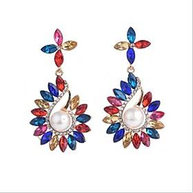 Women's Chandelier Drop Earrings Dangle Earrings Imitation Pearl Earrings Stylish Unique Design Jewelry Black / Rainbow / Red For Party Street 1 Pair