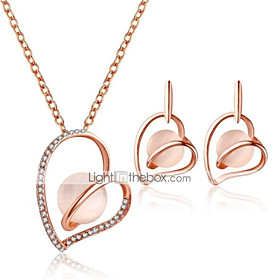 Women's 3D Jewelry Set Rhinestone Heart Stylish, Unique Design Include Drop Earrings Pendant Necklace Pink For Daily Evening Party