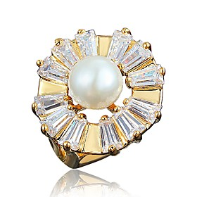 Women's Clear Cubic Zirconia Classic Ring 18K Gold Plated Pearl Imitation Diamond Stylish Luxury Romantic Fashion Elegant Ring Jewelry Gold / White For Party E