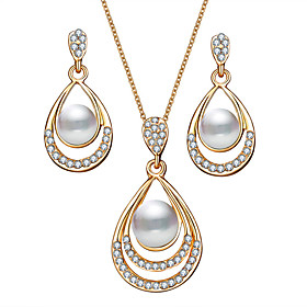 Women's Retro Jewelry Set Imitation Pearl Pear Classic, European, Elegant Include Drop Earrings Pendant Necklace Gold / Silver For Party Ceremony Festival