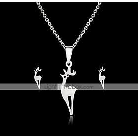 Women's Vintage Style Jewelry Set Steel Stainless Deer Stylish, Unique Design Include Stud Earrings Pendant Necklace Silver For Daily Street