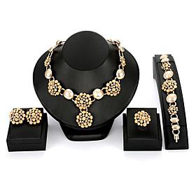 Women's Cubic Zirconia Jewelry Set Imitation Diamond Statement, European, Fashion Include Stud Earrings Pendant Necklace Vintage Bracelet Bridal Jewelry Sets O