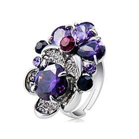Women's Purple Crystal Statement Ring Ring Copper Silver Plated Imitation Diamond Unique Design Trendy Hyperbole Ring Jewelry Purple For Party Evening Party Ca