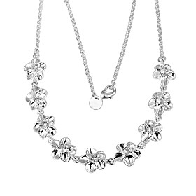 Women's Chain Necklace Beaded Necklace Necklace Silver Plated Flower Simple Unique Design Trendy Romantic Cute Wedding Silver 46 cm Necklace Jewelry 1pc For Gi