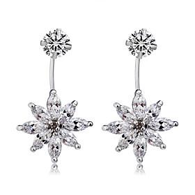 Women's Clear Crystal Drop Earrings Earrings Silver Plated Earrings Flower Stylish Cute Elegant Jewelry Silver For Party Evening Party Formal 2pcs