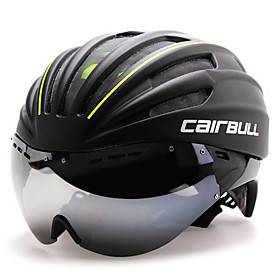 CAIRBULL Adults Bike Helmet with Goggle Aero Helmet 28 Vents CE EN 1077 Impact Resistant Ventilation Insect Net EPS PC Sports Road Cycling - Red Green Blue / I