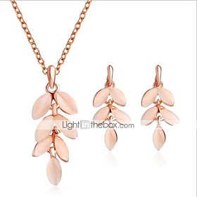 Women's Cat's Eye 3D Jewelry Set Leaf Stylish, Unique Design Include Drop Earrings Pendant Necklace Pink For Gift Daily