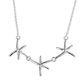 Women's Classic Chain Necklace Necklace Charm Necklace Silver Plated Star Dainty Simple Trendy Romantic Cute Lovely Wedding Silver 46 cm Necklace Jewelry 1pc F