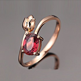 Women's Fuchsia Cubic Zirconia Solitaire Ring Rose Gold Plated Imitation Diamond Flower Love Elegant French Ring Jewelry Rose Gold For Evening Party Date 6 / 7