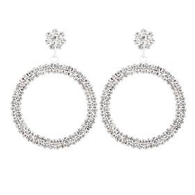 Women's Cubic Zirconia Geometrical Earrings Imitation Diamond Earrings Geometric European Hyperbole Fashion Jewelry Silver For Daily Club Bar 1 Pair
