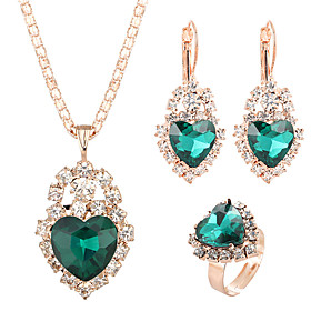 Women's Crystal Retro Jewelry Set Heart Classic, Sweet, Elegant Include Drop Earrings Pendant Necklace Bridal Jewelry Sets Open Ring Red / Green / Blue For Wed