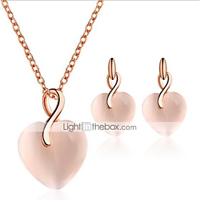 Women's Cat's Eye 3D Jewelry Set Heart Stylish, Unique Design Include Drop Earrings Pendant Necklace Pink For Gift Daily