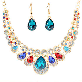 Women's Crystal Bib Jewelry Set Imitation Diamond Pear Classic, Vintage, European, Elegant Include Drop Earrings Bib necklace Red / Blue / Champagne For Party