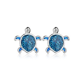Women's Stud Earrings Silver Earrings Turtle Simple European Trendy Cute Jewelry Blue For Daily Going out 1 Pair