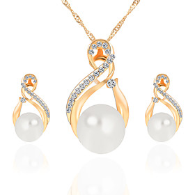 Women's Retro Jewelry Set Imitation Pearl Classic, European, Elegant Include Stud Earrings Pendant Necklace Gold / Silver For Party Ceremony Festival