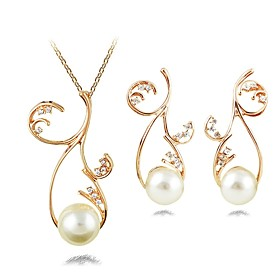 Women's Jewelry Set Imitation Pearl Stylish, Classic Include Drop Earrings Necklace Gold For Daily
