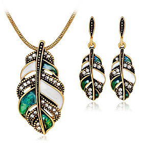 Women's Jewelry Set Rhinestone Leaf Vintage Include Drop Earrings Necklace Gold / Silver For Daily