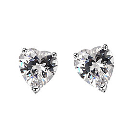 Women's Clear Cubic Zirconia Classic Earrings Silver Plated Earrings Heart Trendy Fashion Cute Elegant Jewelry Silver For Birthday Engagement Gift Daily Date 1