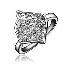 Women's Clear Cubic Zirconia Classic Ring 18K Gold Plated Imitation Diamond Leaf Stylish Luxury Romantic Fashion Elegant Ring Jewelry Gold / Silver For Party E