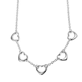 Women's Classic Chain Necklace Necklace Charm Necklace Silver Plated Heart Simple Trendy Romantic Hyperbole Cute Lovely Wedding Silver 46 cm Necklace Jewelry 1