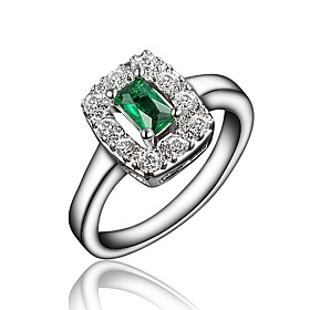 Women's Clear Cubic Zirconia Classic Ring Engagement Ring 18K Gold Plated Imitation Diamond Stylish Luxury Romantic Fashion Elegant Ring Jewelry Red / Green /