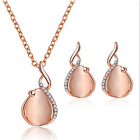 Women's 3D Jewelry Set Rhinestone Pear Stylish, Unique Design Include Drop Earrings Pendant Necklace Pink For Daily Evening Party