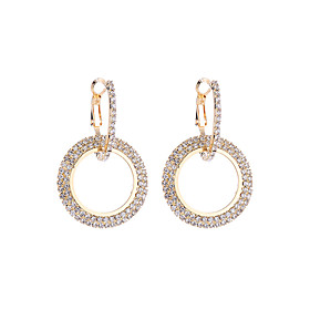 Women's Cubic Zirconia Two tone Drop Earrings Imitation Diamond Earrings Korean Fashion Modern Jewelry Gold / Silver For Party Going out Work Club Bar 1 Pair