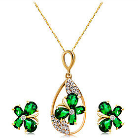 Women's Green Crystal Classic Jewelry Set Gold Plated, Imitation Diamond Butterfly Stylish, Artistic, Sweet Lolita Include Necklace Earrings Gold For Party Eve