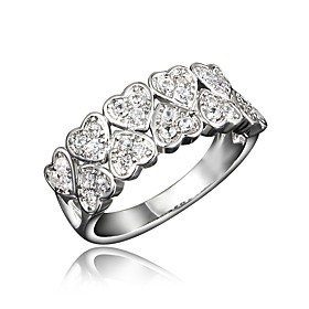 Women's Clear Cubic Zirconia Classic Ring 18K Gold Plated Imitation Diamond Heart Stylish Luxury Romantic Fashion Elegant Ring Jewelry Gold / Silver For Party