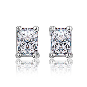 Women's Clear Cubic Zirconia Classic Earrings Silver Plated Earrings Trendy Fashion Cute Elegant Jewelry Silver For Birthday Engagement Gift Daily Date 1 Pair