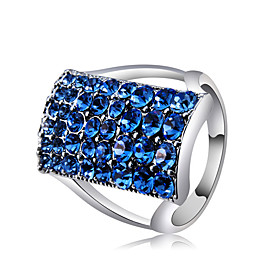 Women's Blue Cubic Zirconia Classic Statement Ring Ring Copper Silver Plated Imitation Diamond Statement Unique Design Trendy Ring Jewelry Silver For Party Eve