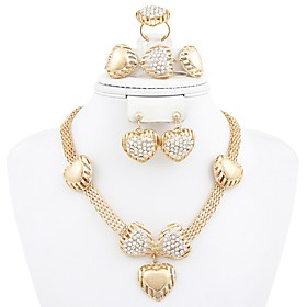 Women's Jewelry Set Heart Stylish, Classic Include Drop Earrings Necklace Bracelet Open Ring Gold For Daily Evening Party