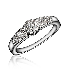 Women's Clear Cubic Zirconia Classic Ring Tail Ring 18K Gold Plated Imitation Diamond Stylish Luxury Romantic Fashion Elegant Ring Jewelry Silver For Party Eng