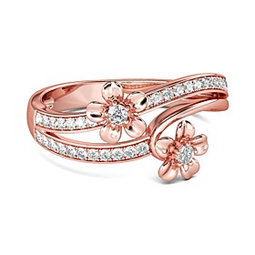 Women's Clear Cubic Zirconia Double Twine Ring Rose Gold Plated Imitation Diamond Floral Theme Flower Korean Sweet Fashion Ring Jewelry Rose Gold For Party Eve