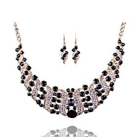 Women's Crystal Retro Jewelry Set Imitation Diamond Luxury, Vintage, Elegant Include Drop Earrings Bib necklace Red / Blue / Champagne For Party Ceremony Festi