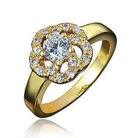 Women's Clear Cubic Zirconia Classic Ring 18K Gold Plated Imitation Diamond Flower Stylish Luxury Romantic Fashion Elegant Ring Jewelry Gold / Silver For Party