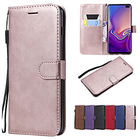 Case For Samsung Galaxy Galaxy S10 / Galaxy S10 Plus Wallet / Card Holder / with Stand Full Body Cases Solid Colored Hard PU Leather for S9 / S9 Plus / S8 Plus