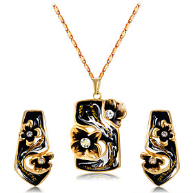 Women's Clear Cubic Zirconia Jewelry Set Gold Plated, Imitation Diamond Statement, Artistic, Unique Design Include Pendant Necklace Earrings Black For Ceremony
