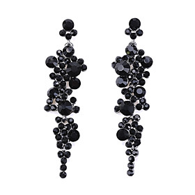 Women's Crystal Round Cut Drop Earrings Earrings Luxury Classic Jewelry Black / Red For Ceremony Evening Party Festival 1 Pair