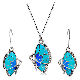 Women's Clear Cubic Zirconia Jewelry Set Silver Plated, Imitation Diamond Butterfly Stylish, Artistic, Cute Include Drop Earrings Pendant Necklace Blue For Par