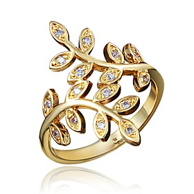 Women's Clear Cubic Zirconia Classic Ring 18K Gold Plated Imitation Diamond Leaf Stylish Luxury Romantic Fashion Elegant Ring Jewelry Gold For Party Engagement