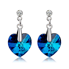 Women's Blue Crystal Drop Earrings Earrings Heart Romantic Fashion Cute Jewelry Royal Blue For Ceremony Evening Party Formal 2pcs