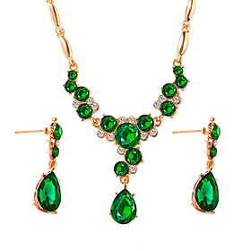 Women's Crystal Briolette Jewelry Set Drop Luxury, Classic, Vintage Include Drop Earrings Pendant Necklace Black / Green / Blue For Engagement Ceremony Evening