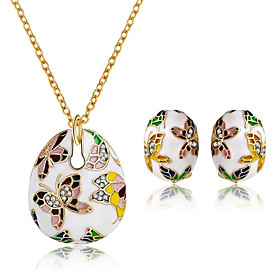 Women's Vintage Style Jewelry Set Gold Plated Pear Vintage, Bohemian Include Stud Earrings Pendant Necklace Rainbow For Party Gift