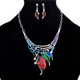 Women's Jewelry Set Leaf Stylish Include Drop Earrings Necklace Rainbow For Daily Formal Festival